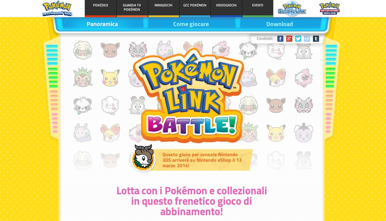 Homepage del sito ufficiale di Pokémon Link: Battle
