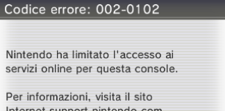 Schermata di errore ban online Nintendo 3DS